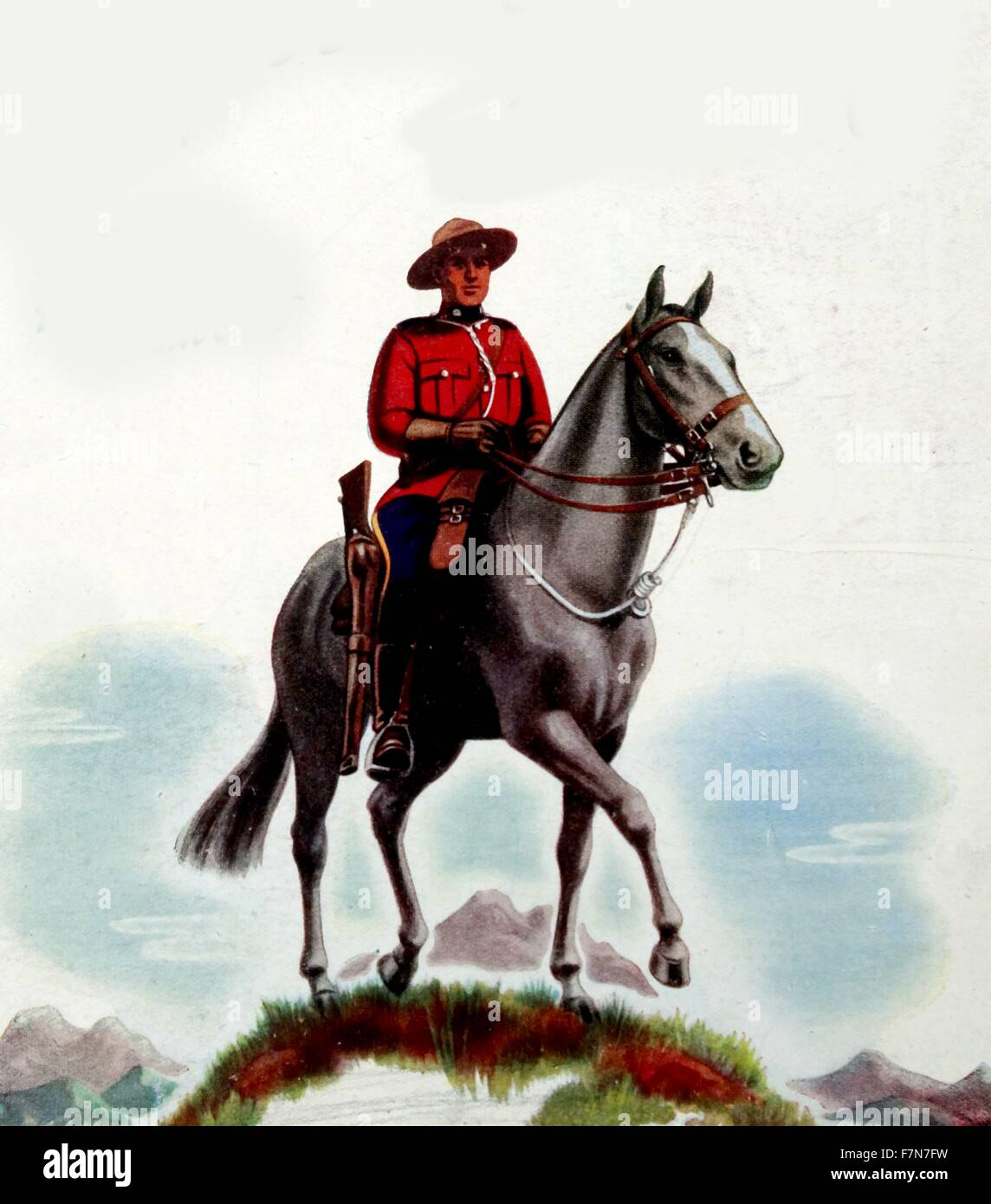 Mountie or mounted canadian police officer - Stock Image