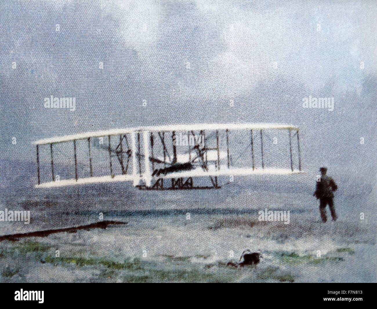 The first powered flightby the wright brothers, at Kitty Hawk. - Stock Image