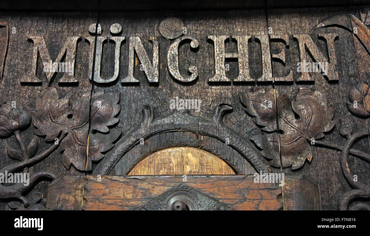 Munich beer barrel Hofbrau House carved with Munchen, Germany - Stock Image