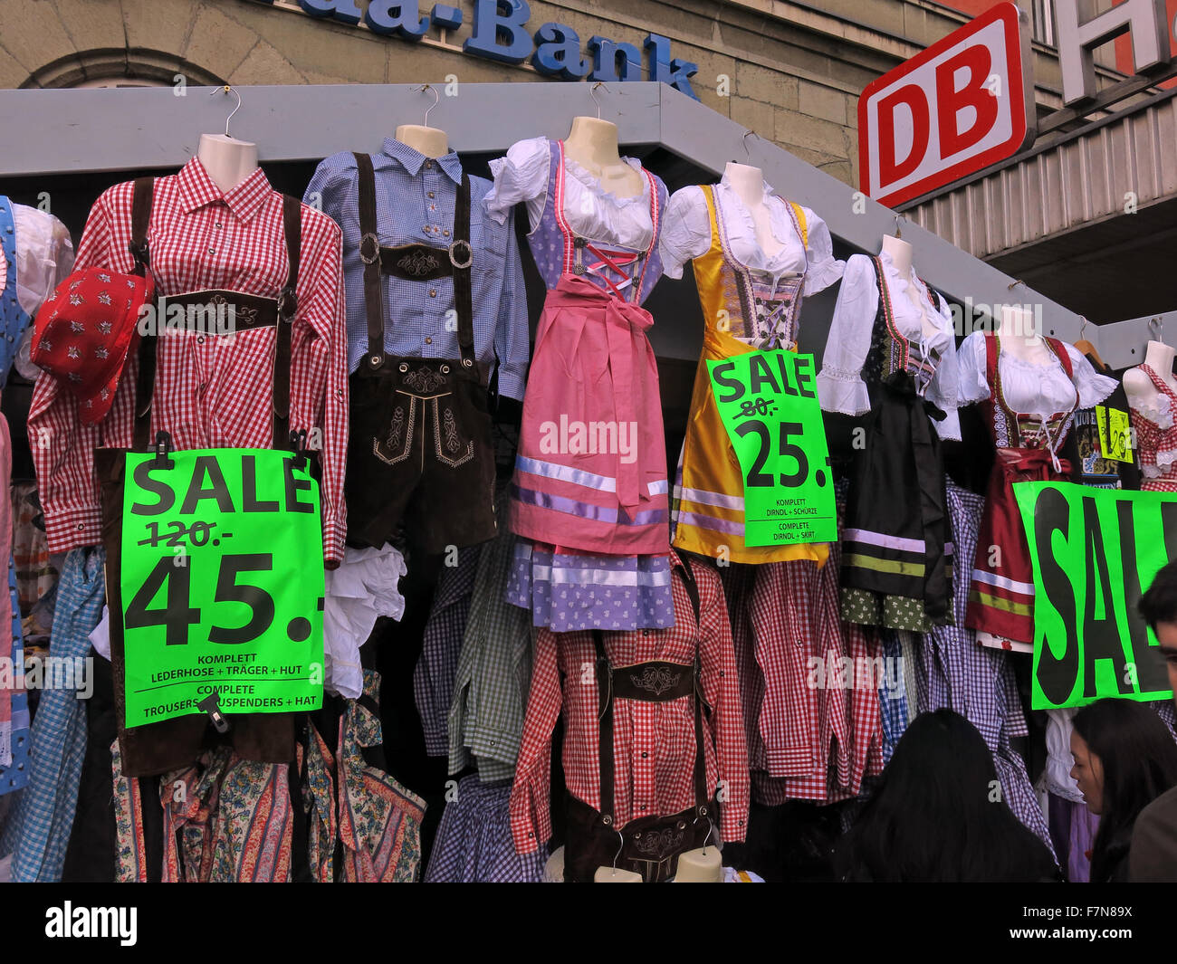 Clothing for Oktoberfest,at Hauptbahnhof Munich, reduced last weekend,120 to 45 Euros - Stock Image