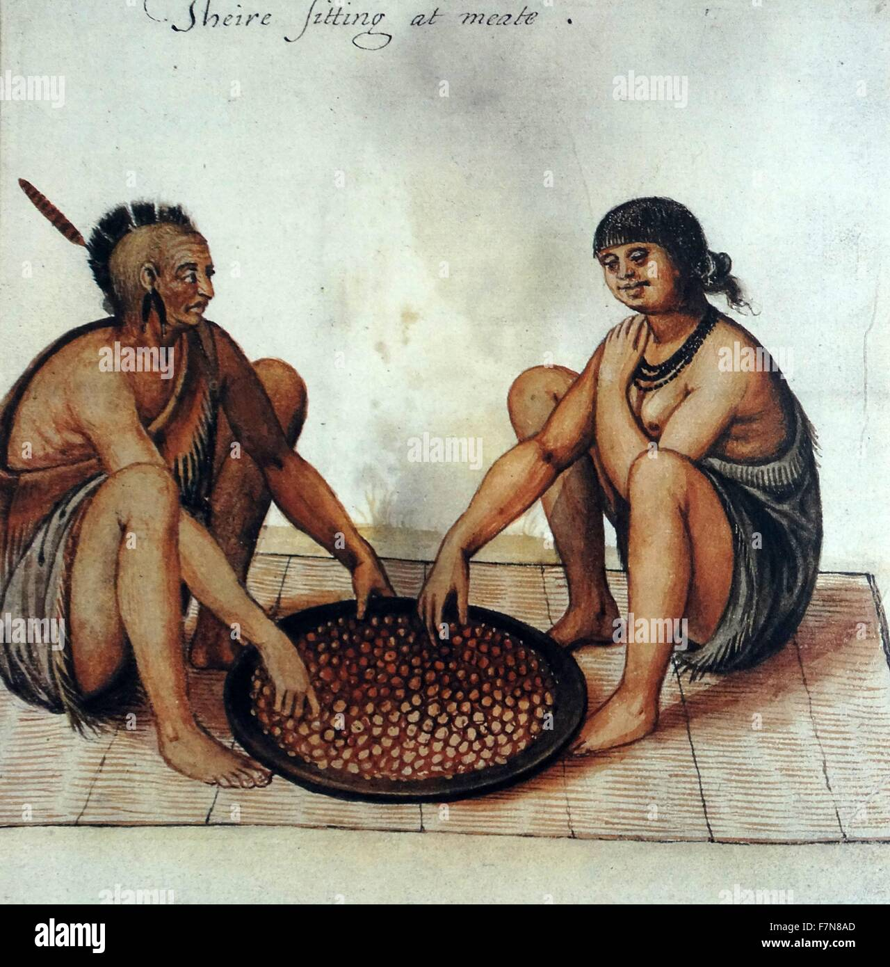 Watercolor drawing 'Native american indians eating corn' by John White (created 1585-1586). - Stock Image