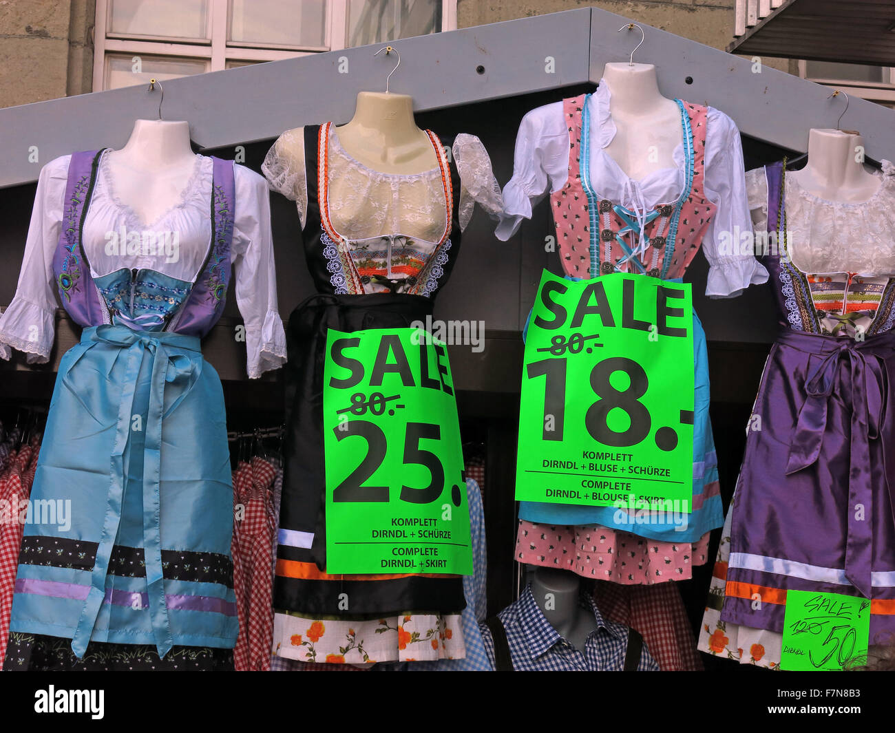 Clothing for Oktoberfest,at Hauptbahnhof Munich, reduced last weekend 80 to 25 Euros - Stock Image