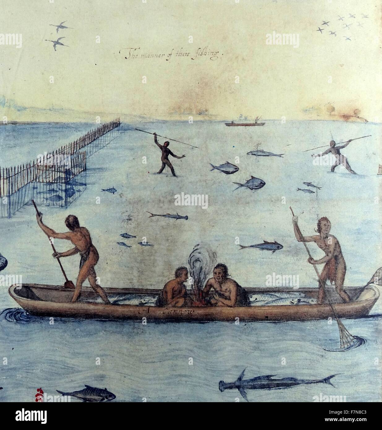 Watercolor drawing 'Indians Fishing' by John White (created 1585-1586). - Stock Image