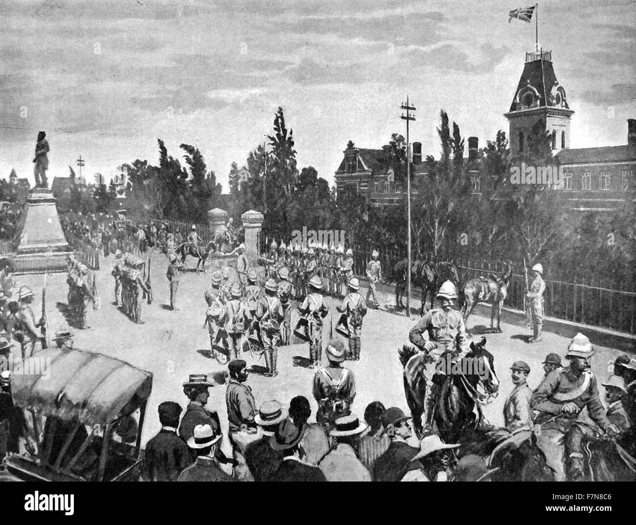 Illustration depicting the British occupation of Bloemfontein during the Second Boer War. Field Marshal Frederick - Stock Image