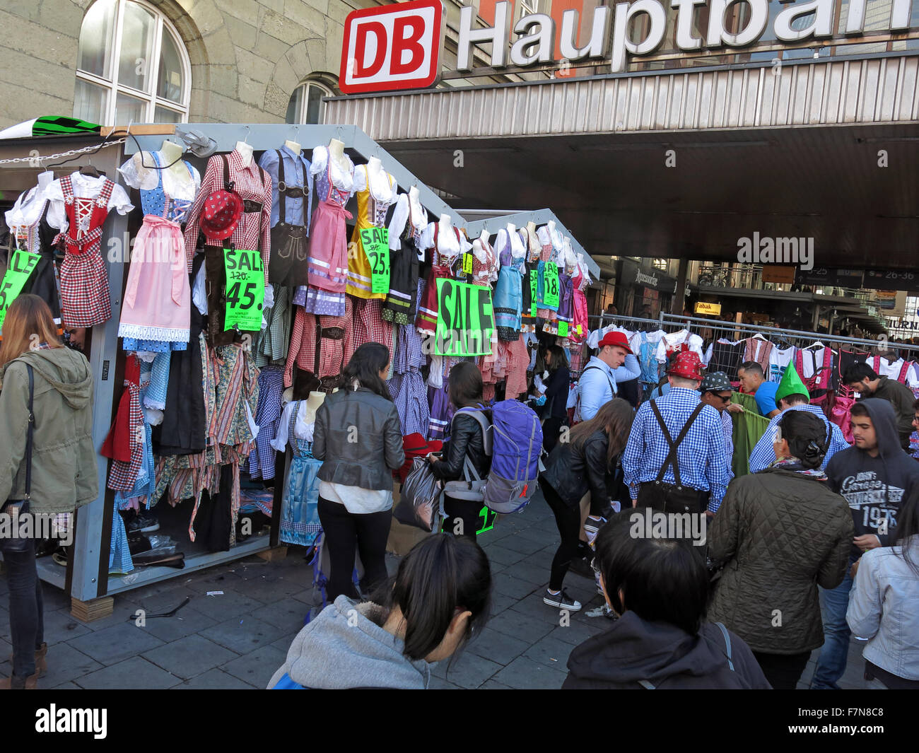 Clothing for Oktoberfest,at Hauptbahnhof Munich, reduced last weekend - Stock Image