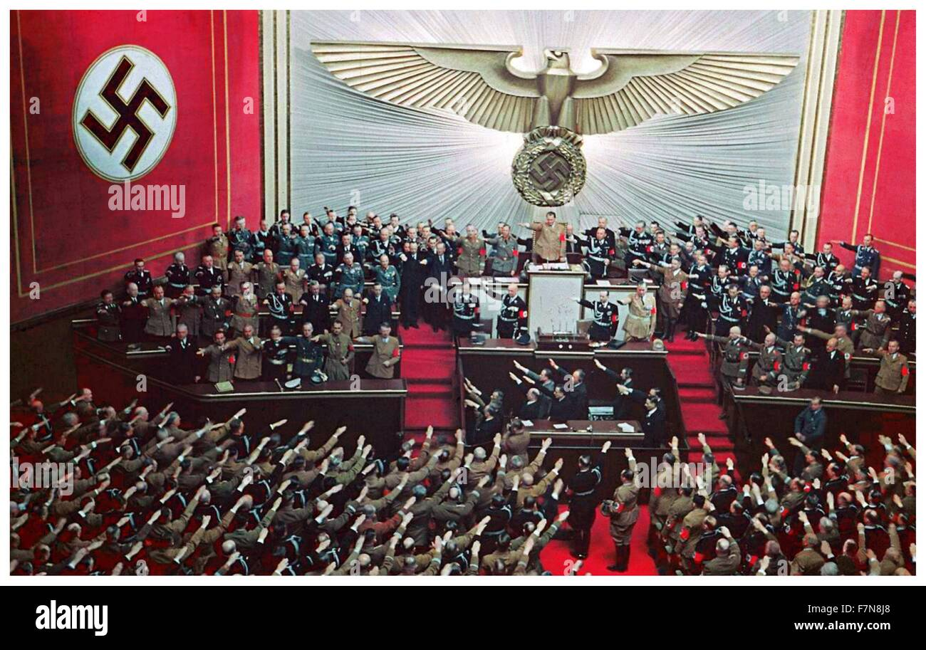 April 28, 1939; Hitler makes an address to the reichstag, answering Roosevelts appeal to avoid war - Stock Image