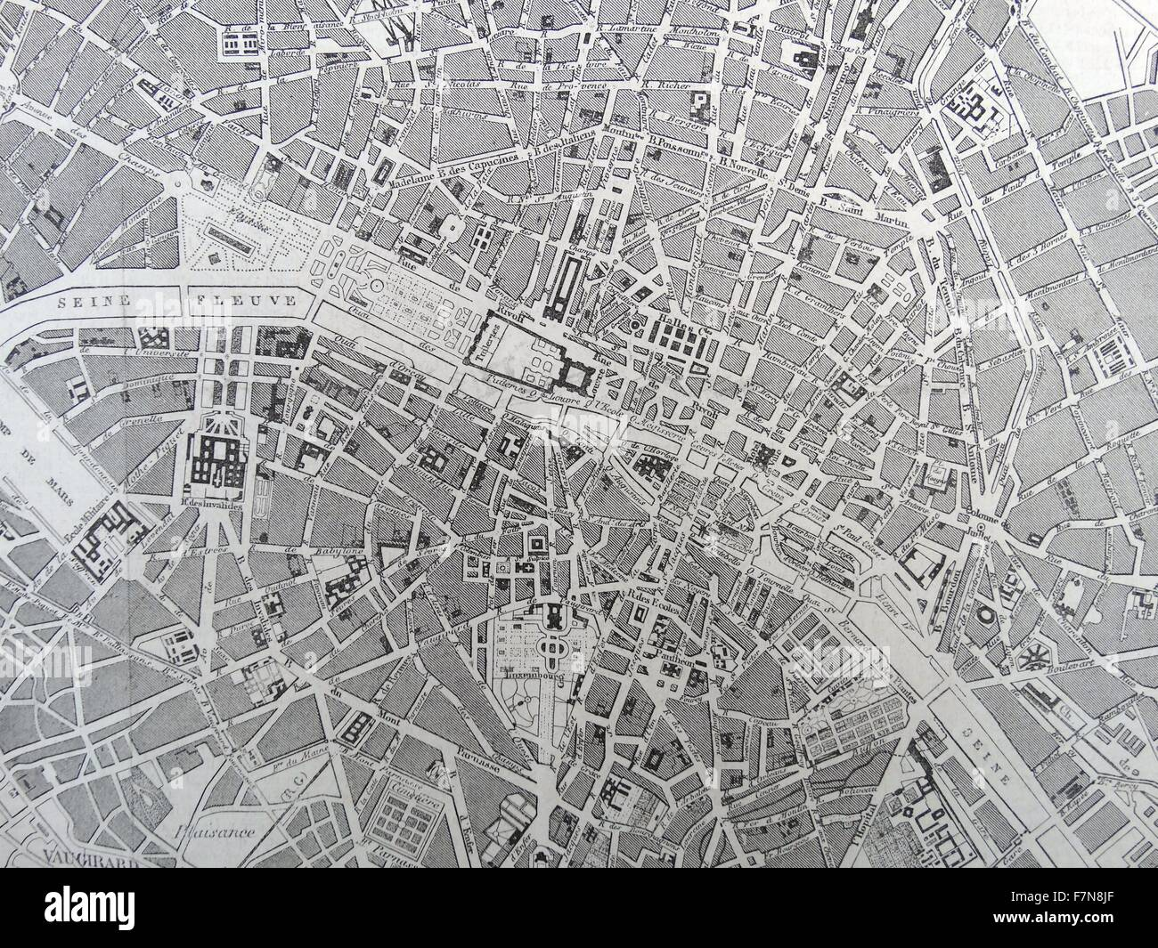 19th Century Map of Paris with the River Seine depicted. Dated 1880 - Stock Image