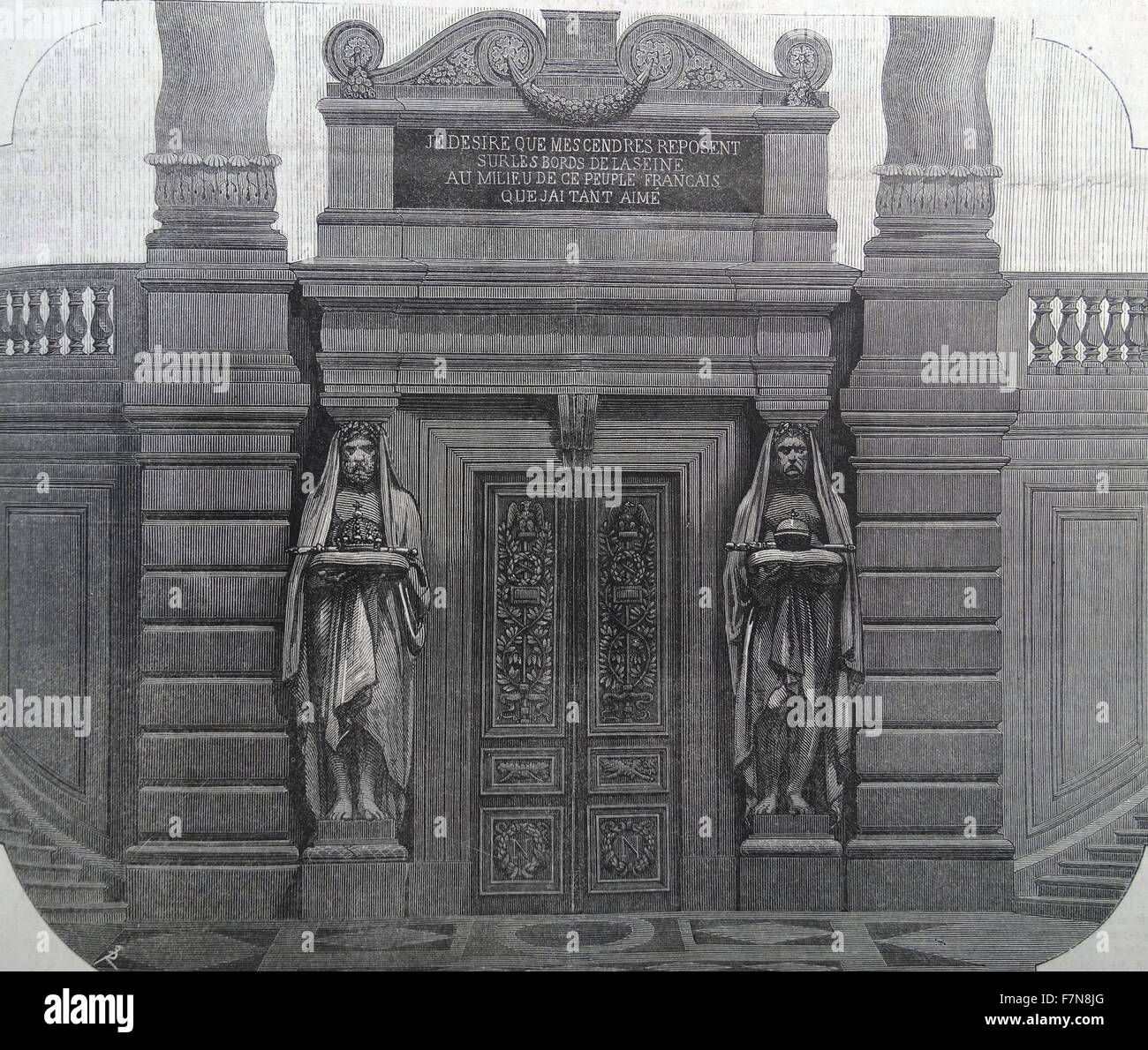 Illustration depicting the  tomb of Napoléon Bonaparte (1769-1821) within the Invalides, France. Dated 1822 - Stock Image