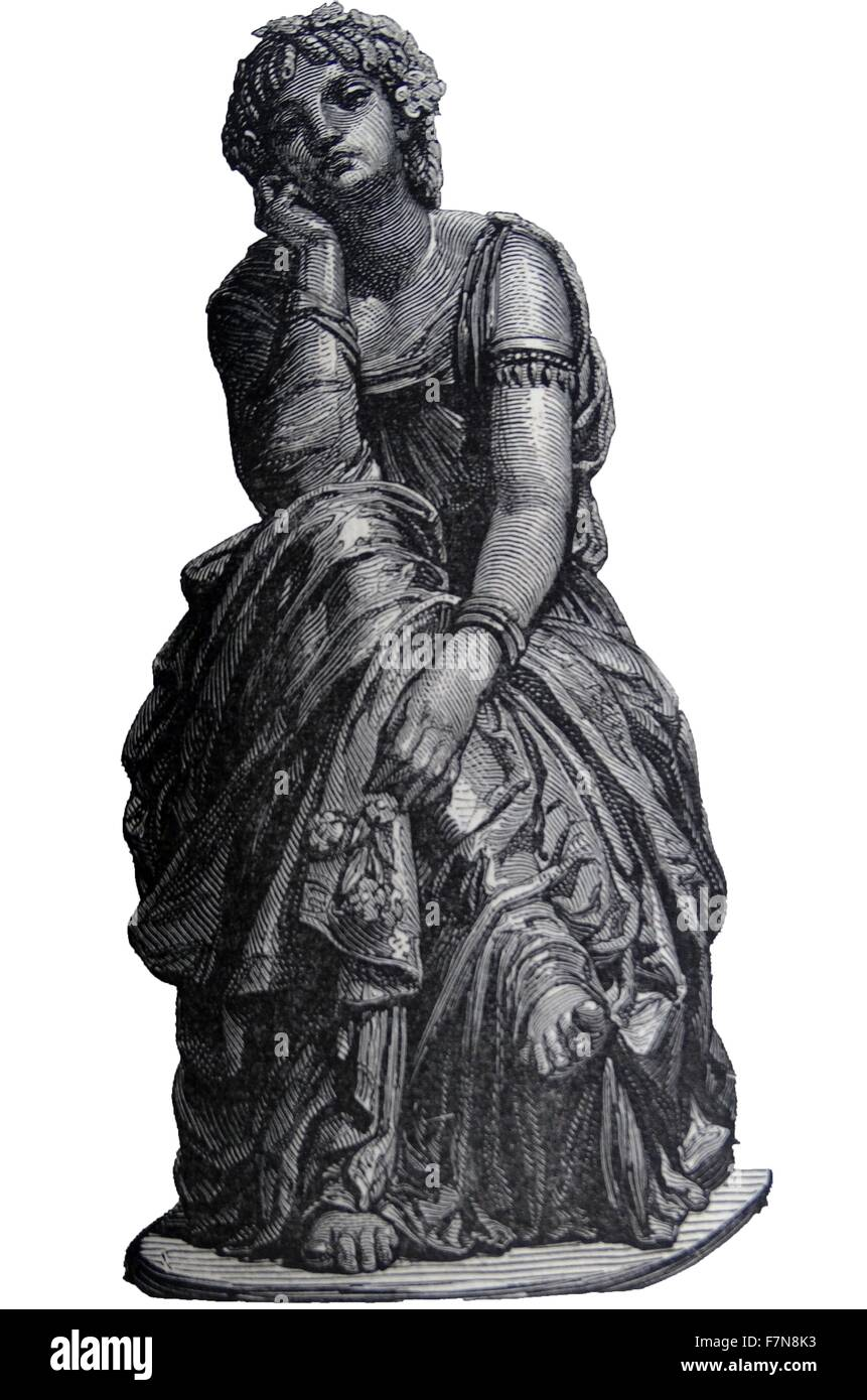 Illustration of a Bronze statue titled 'Rèverie' which translates to the day dreamer. Dated 1870 - Stock Image