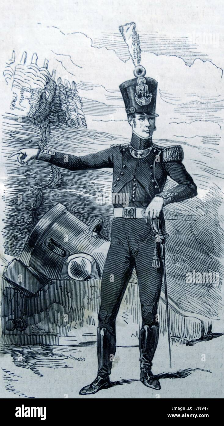 Illustration of commander of the cannons in Lille, France. Dated 1811 - Stock Image