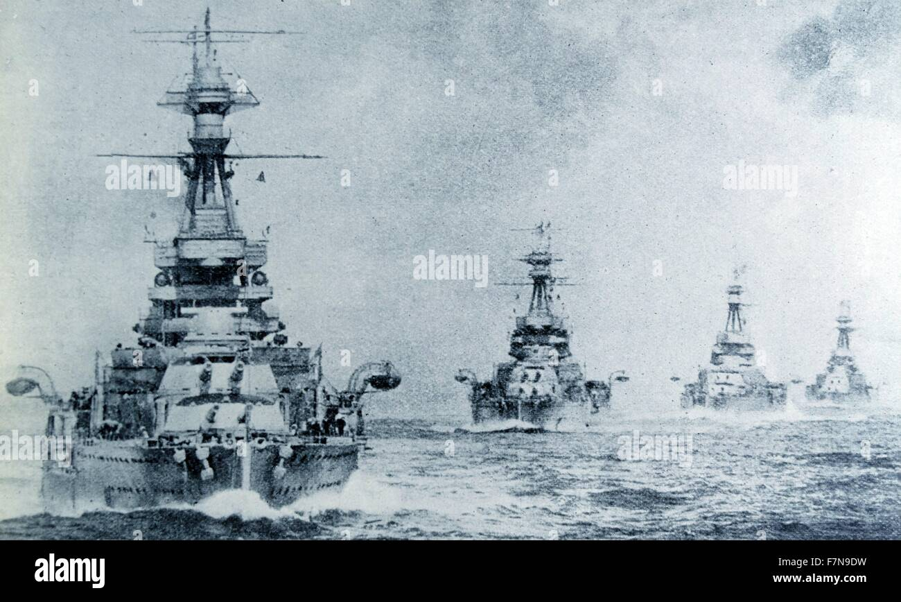 Photograph shows a collection of battleships belonging to the British Fleet. Dated 1940 - Stock Image