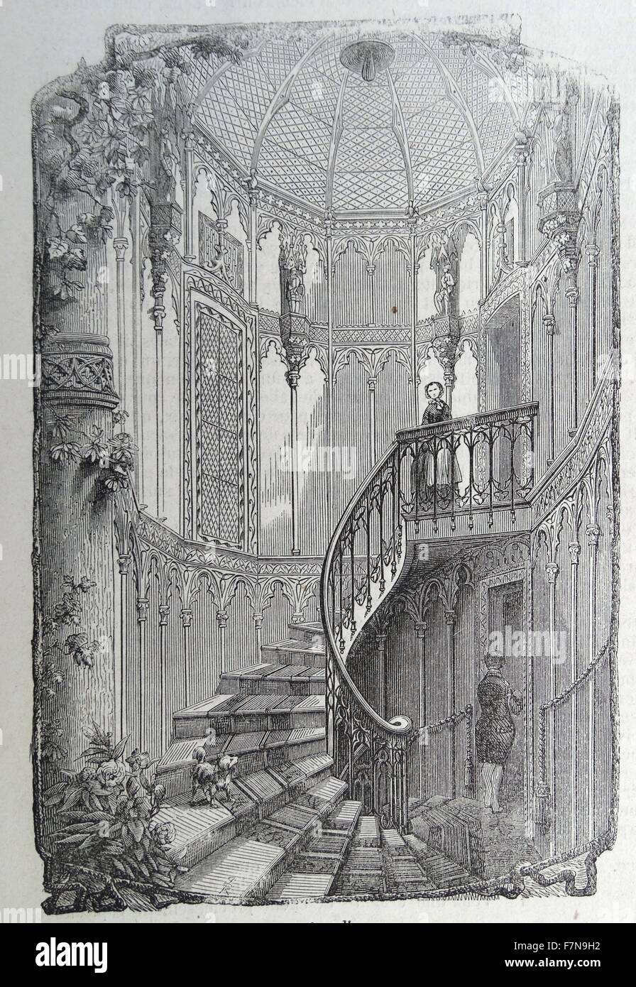 Illustration titled 'L'escalier' which translates to 'The Staircase'. The illustration is of - Stock Image