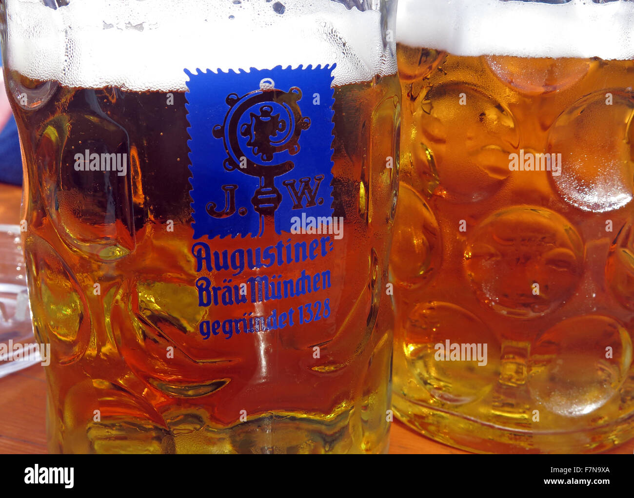 Oktoberfest in Munich,Baveria,Germany,Two bier steins - Stock Image