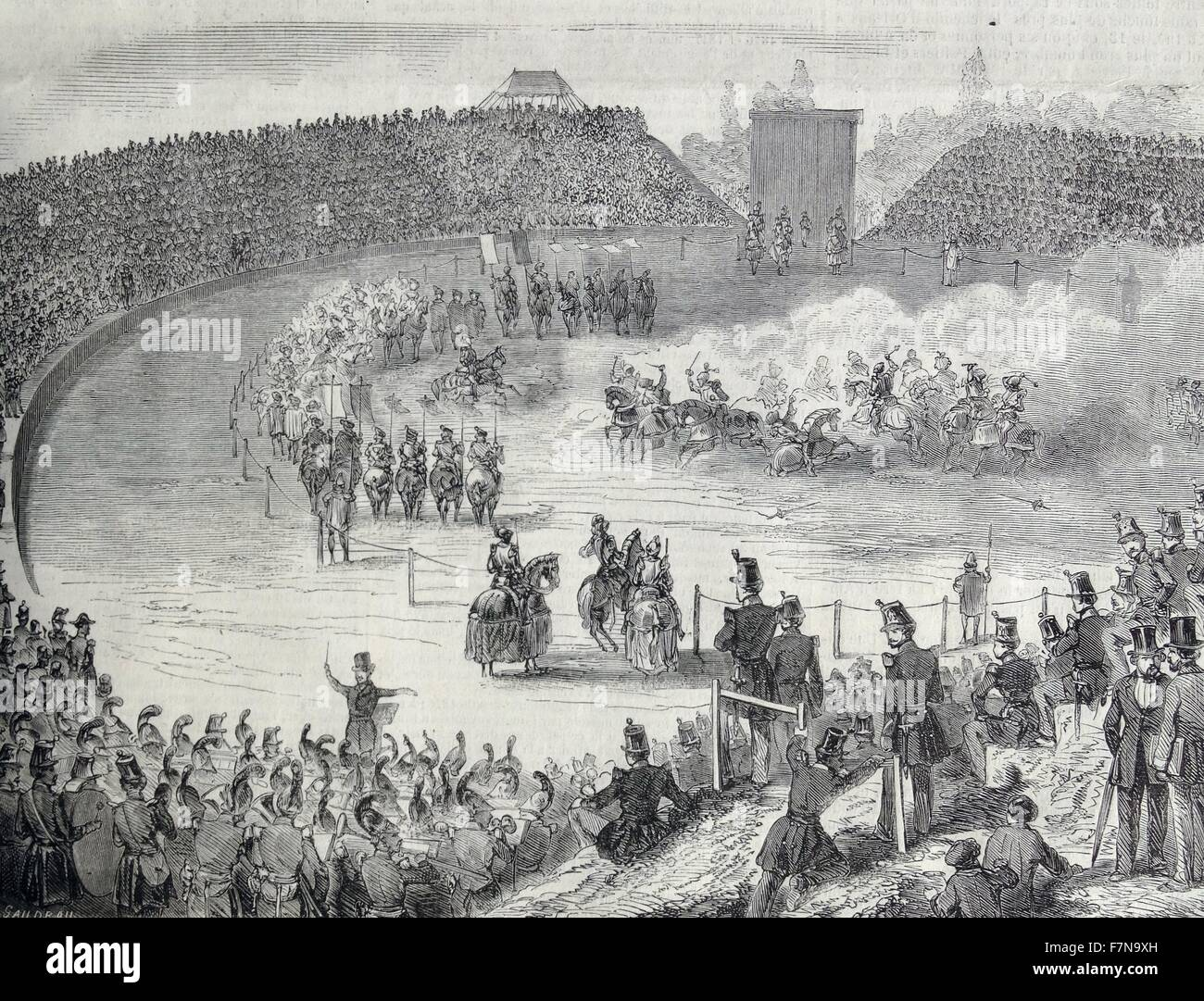 Crowd watches a military spectacle or show in France 1860 Stock Photo