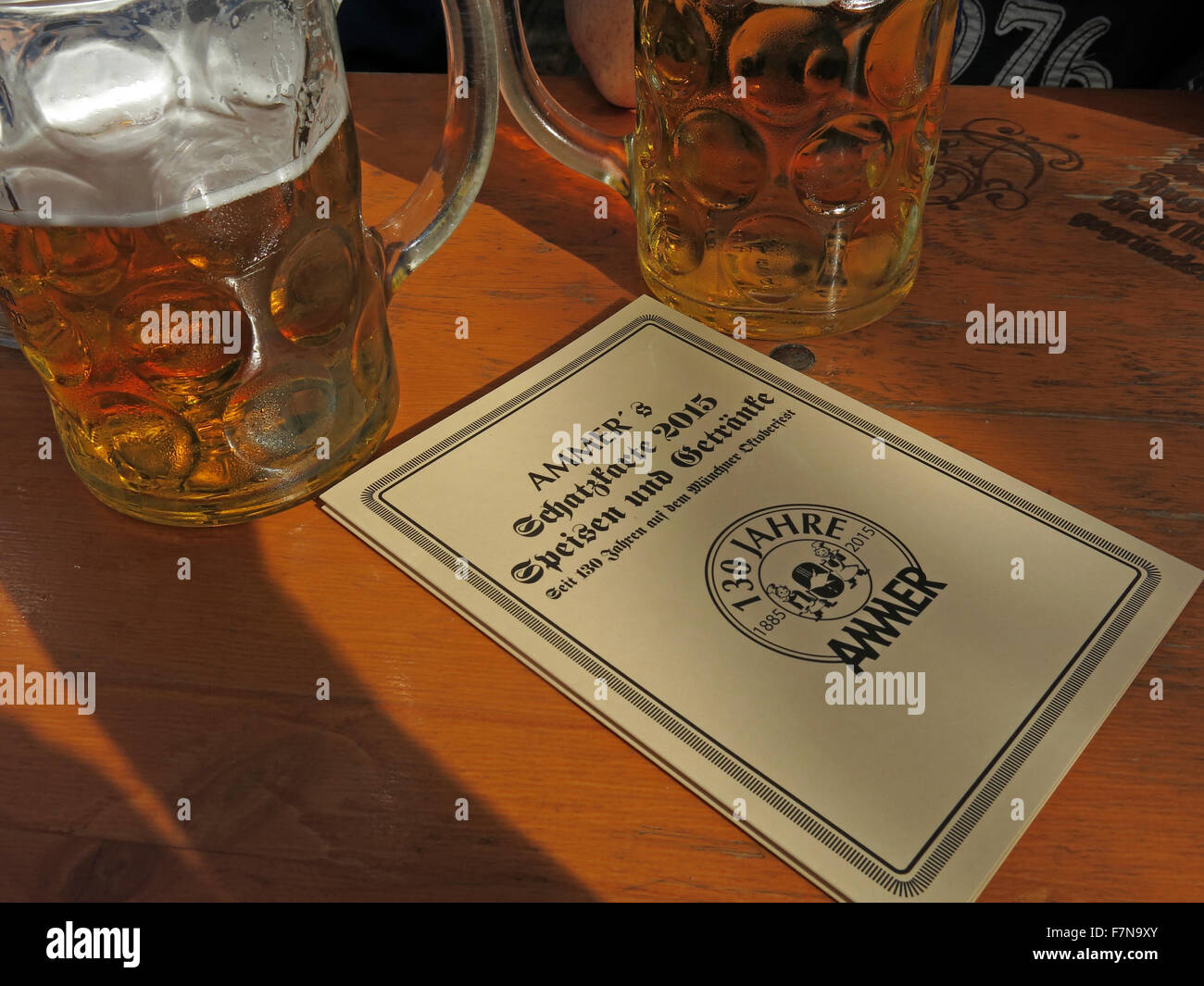 Ammer bier tent menu for food & drink,Oktoberfest,Bavaria,Munich,Germany with liter stein of beer - Stock Image
