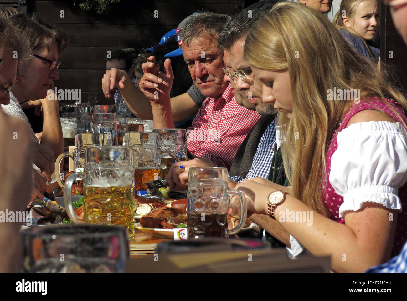 Garden Scenes at Munich Oktoberfest Beer Festival Stock Photo