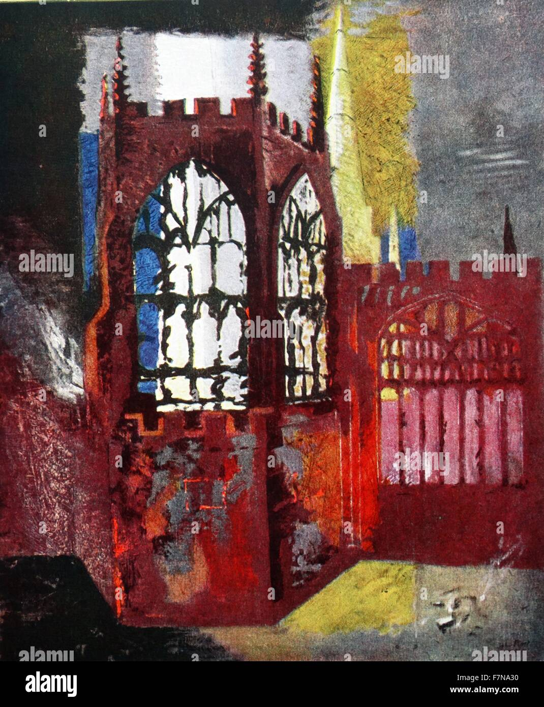 Painting of the Coventry Cathedral by John Piper (1903-1992) English painter and printmaker. Dated 1941 - Stock Image