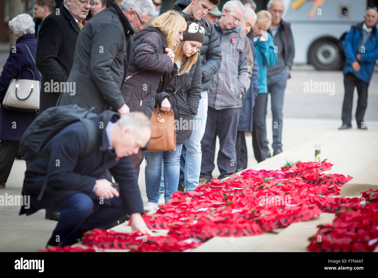 Manchester city centre fell silent with the rest of the nation this morning to mark Armistice day - Stock Image