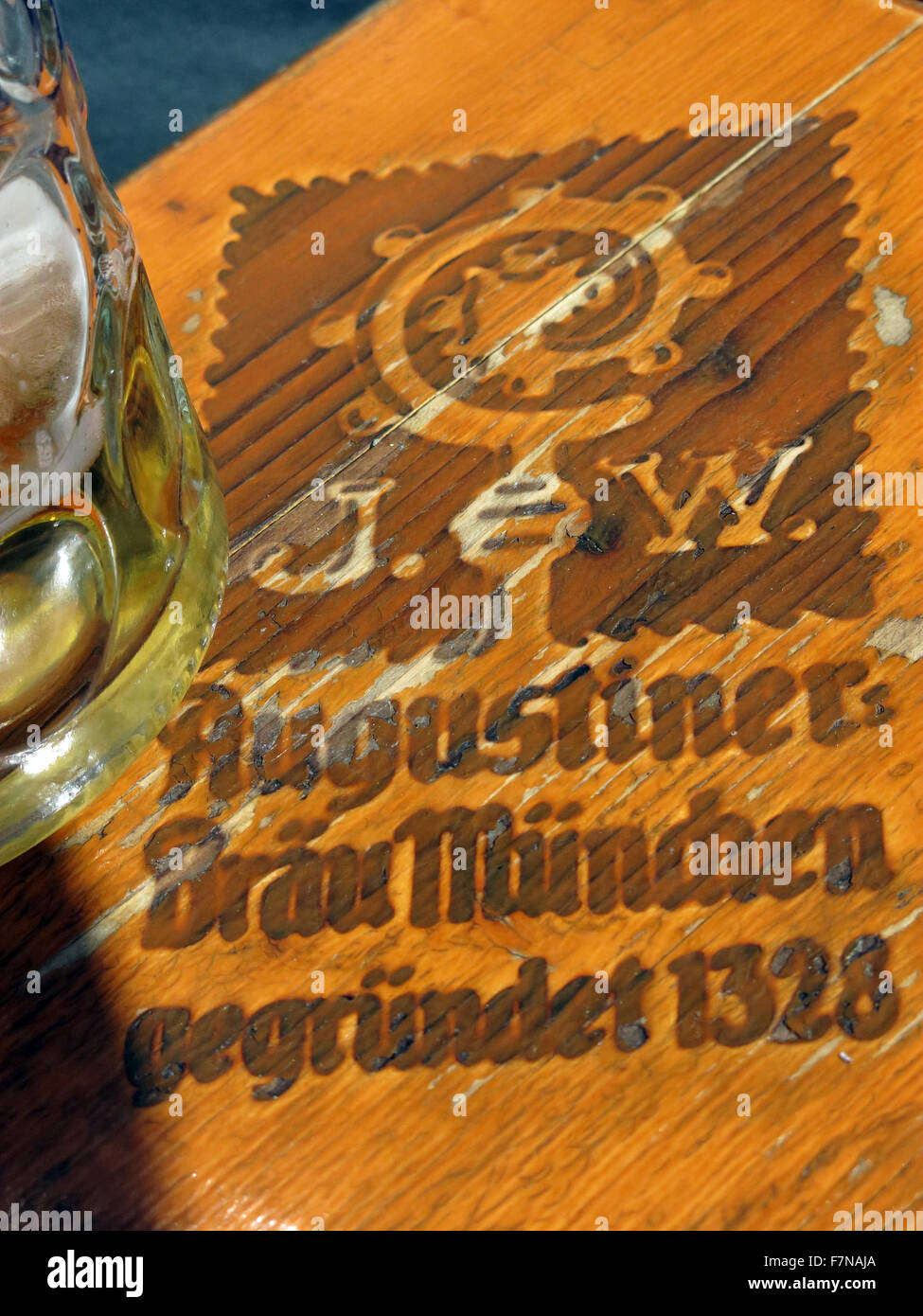 Augustiner Brau Munchen table at Oktoberfest,Munich,Bavaria,Germany - Stock Image