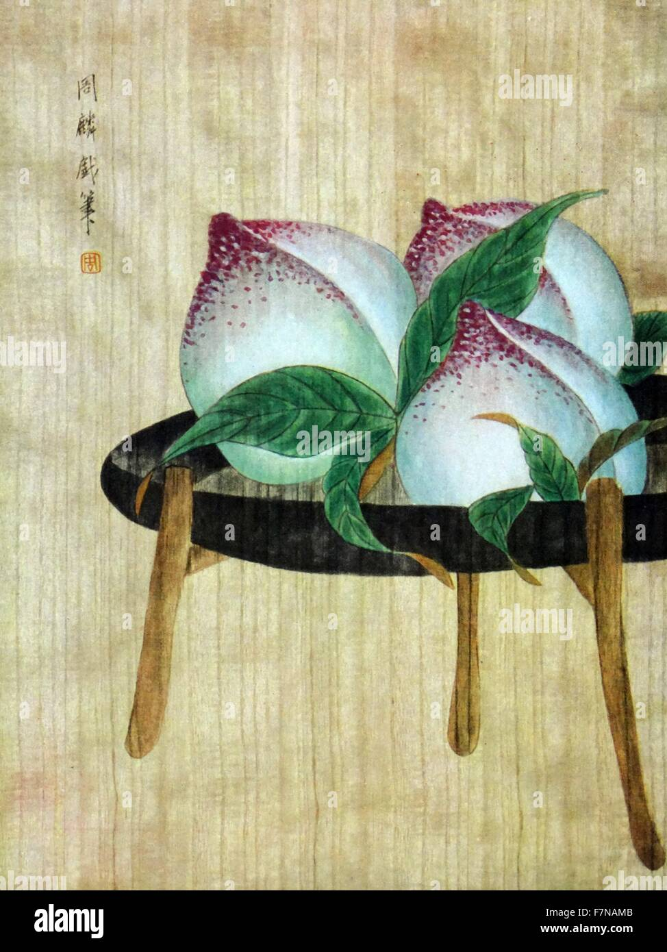 Zhou Ling 'Peaches' early 20th century, chinese still life painting - Stock Image