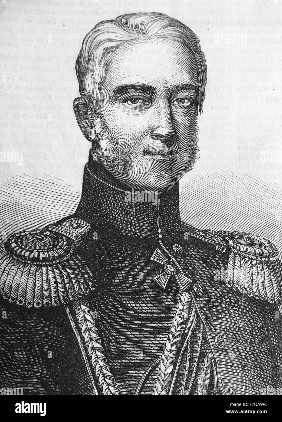 Portrait of Prince Mikhail Semyonovich Vorontsov (1782-1856) Russian prince and field-marshal, renowned for his - Stock Image