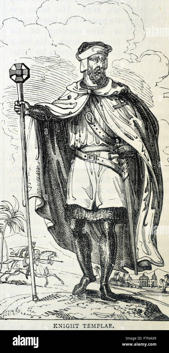 Engraving depicting a member of the Knights Templar, a Western Christian military order. Dated 14th Century - Stock Image