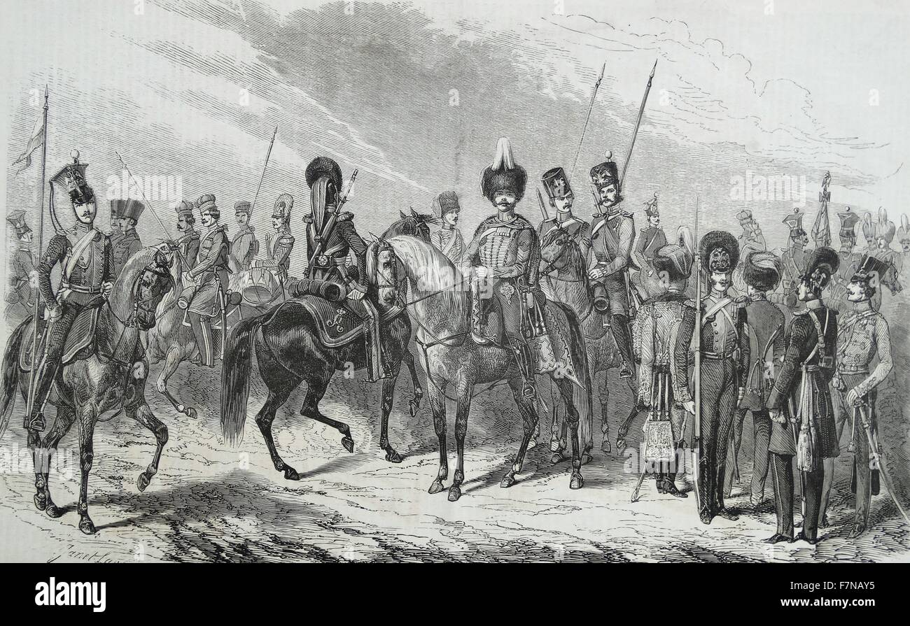 Engraving of the Russian army's uniforms of the 1st Cavalry Division Guard. Dated 1812 - Stock Image