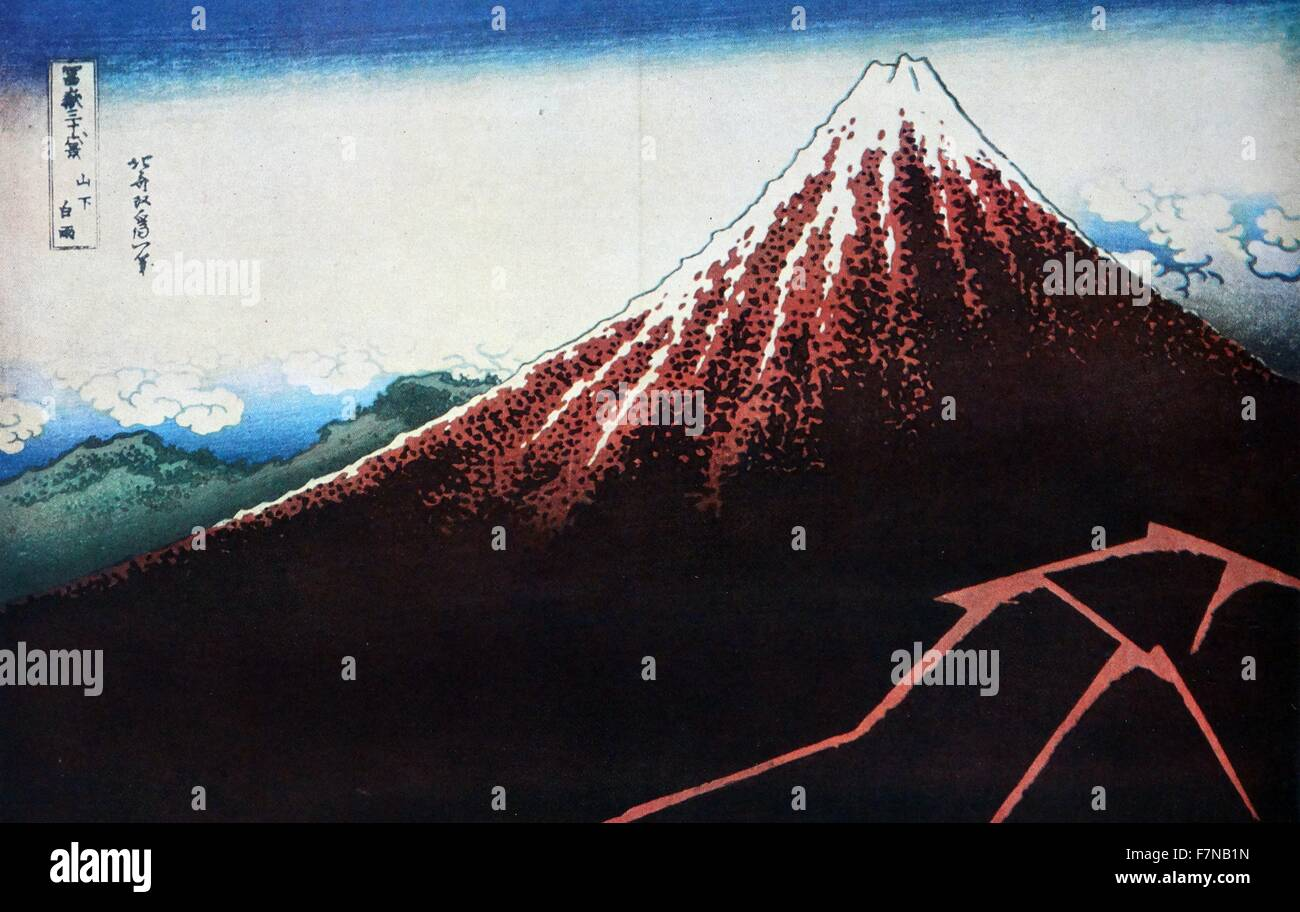 Hokusai Shower Below the Summit (Sanka hakuu), from the series 'Thirty-Six Views of Mount Fuji (Fugaku sanjurokkei)', - Stock Image