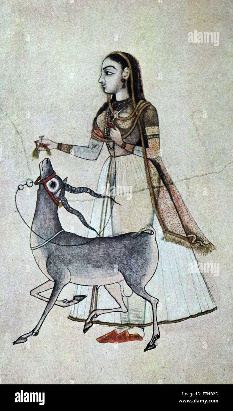 Woman with an antelope.  Mughal style indian painting early 19th century - Stock Image