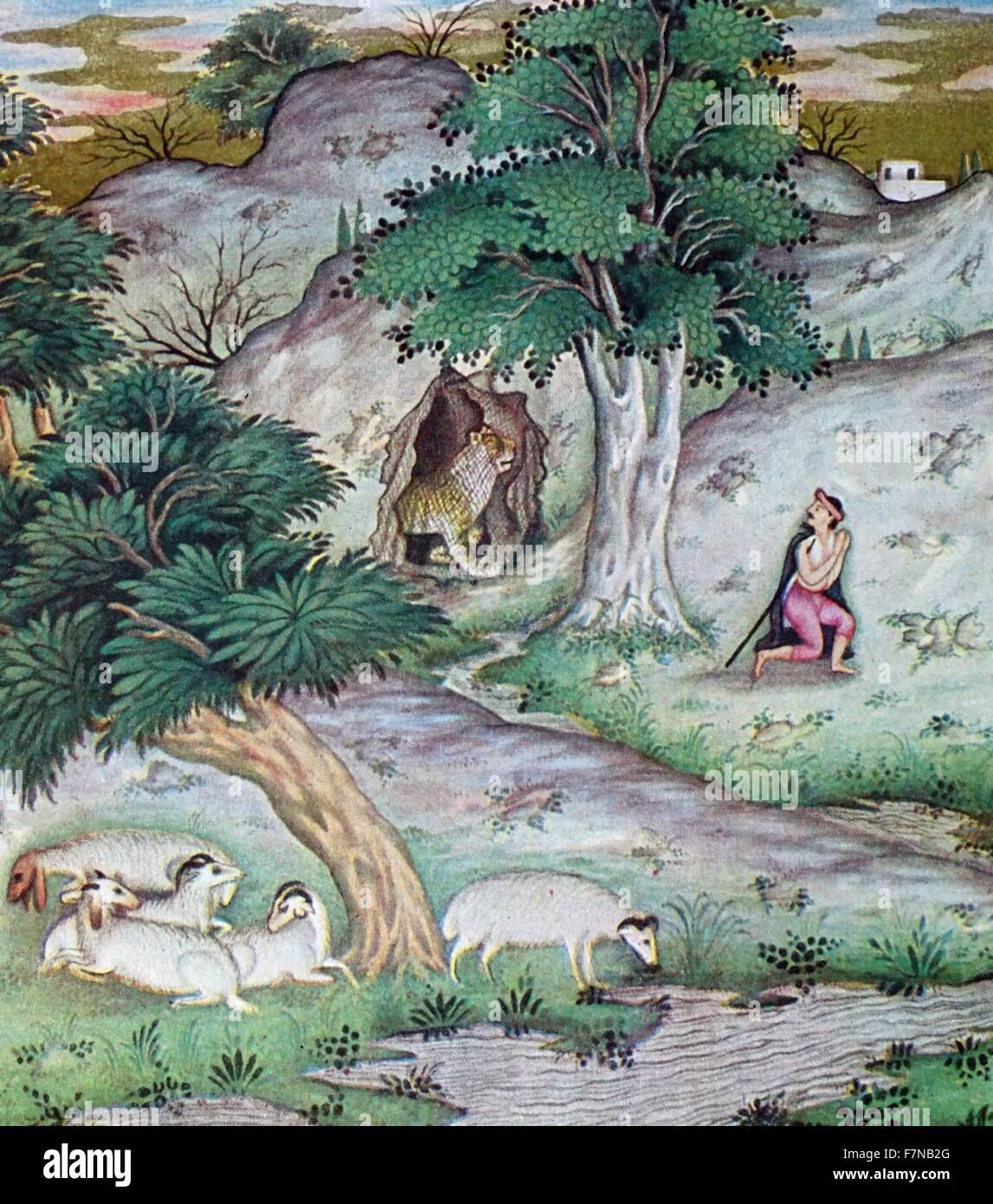 Mughal indian version of The Shepherd and the Lion is the first fable of Book VI of Jean de La Fontaine 19th century - Stock Image