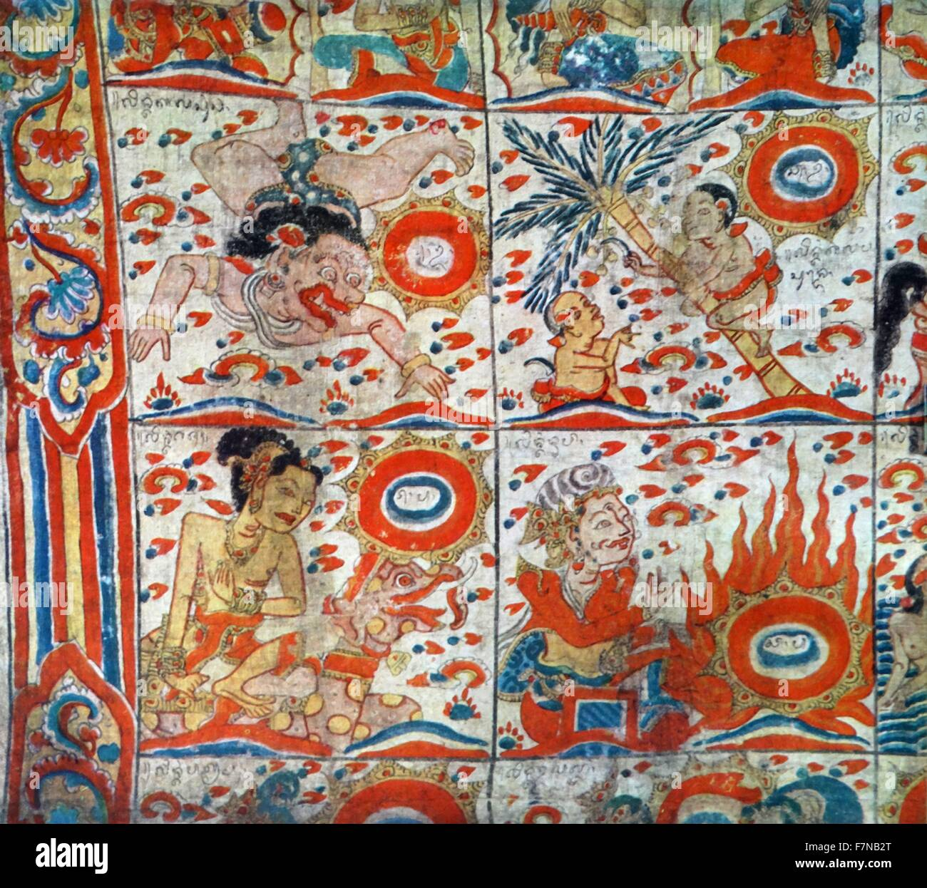 balinese painting depicting the signs of the Zodiac 19th century - Stock Image
