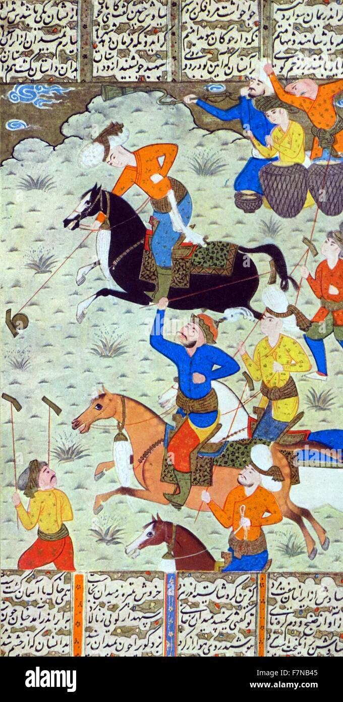 Folio from a Shahnama (Book of kings) by Firdawsi; verso: Siyawush and Afrasiyab play polo; recto: text circa 1590 - Stock Image