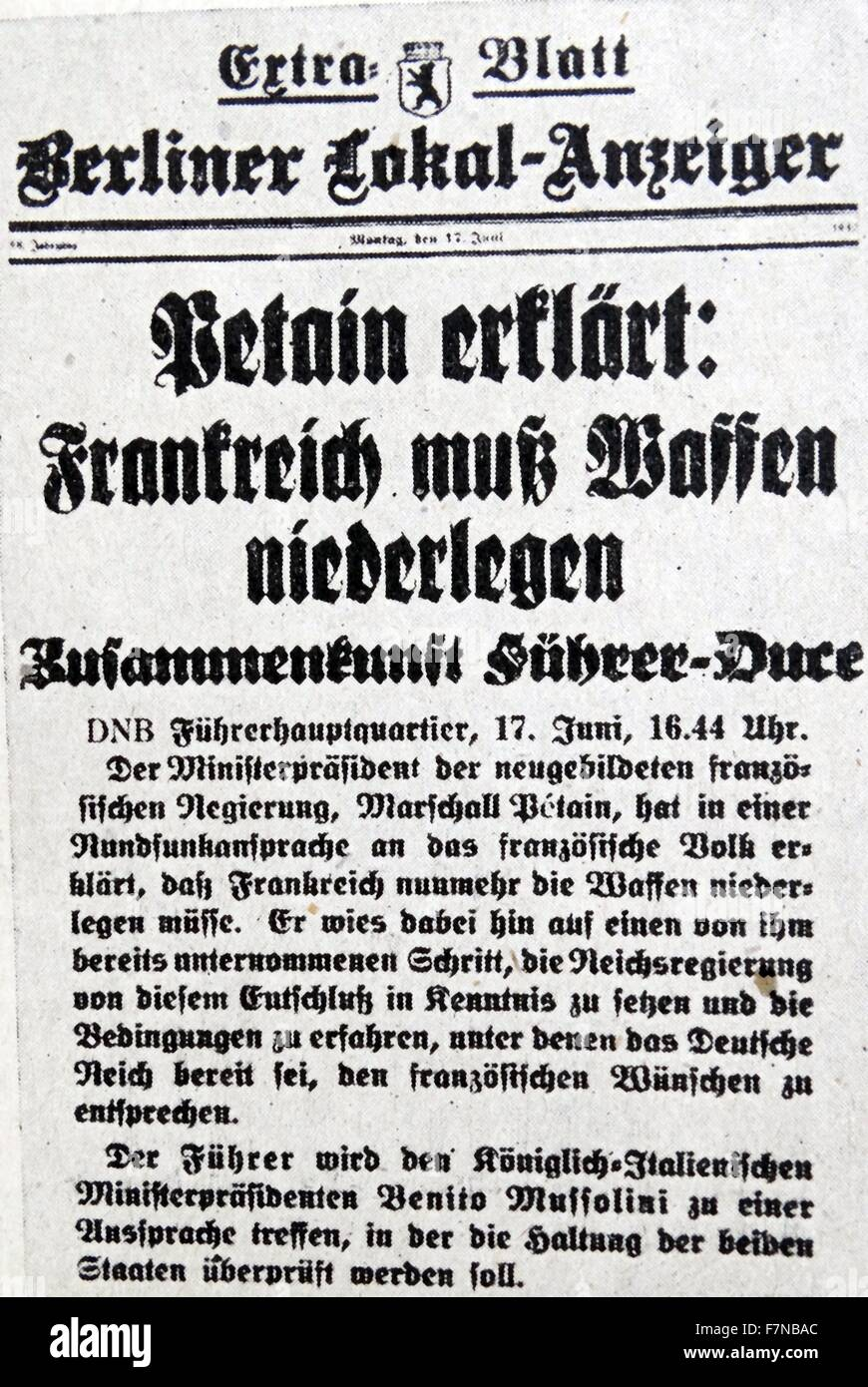 Special addition of the 'Berliner-Lokal-Anzeiger' issued from the 'Fuehrer's Headquarters'. - Stock Image