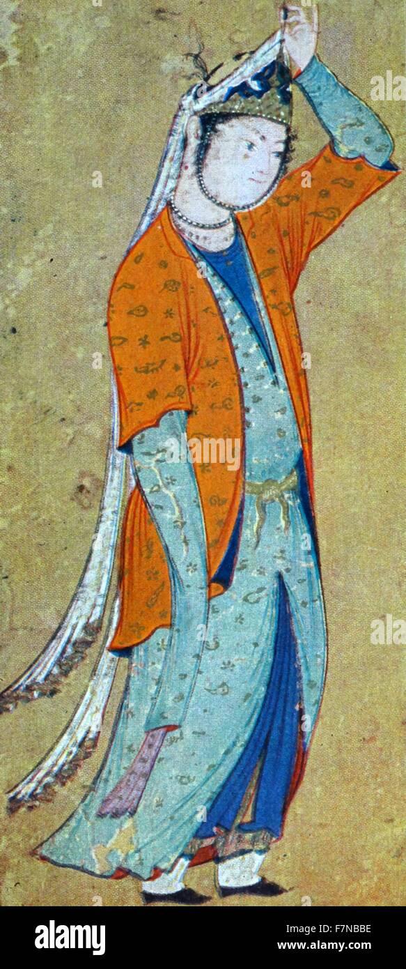 persian manuscript depicting a young woman circa 1500 - Stock Image