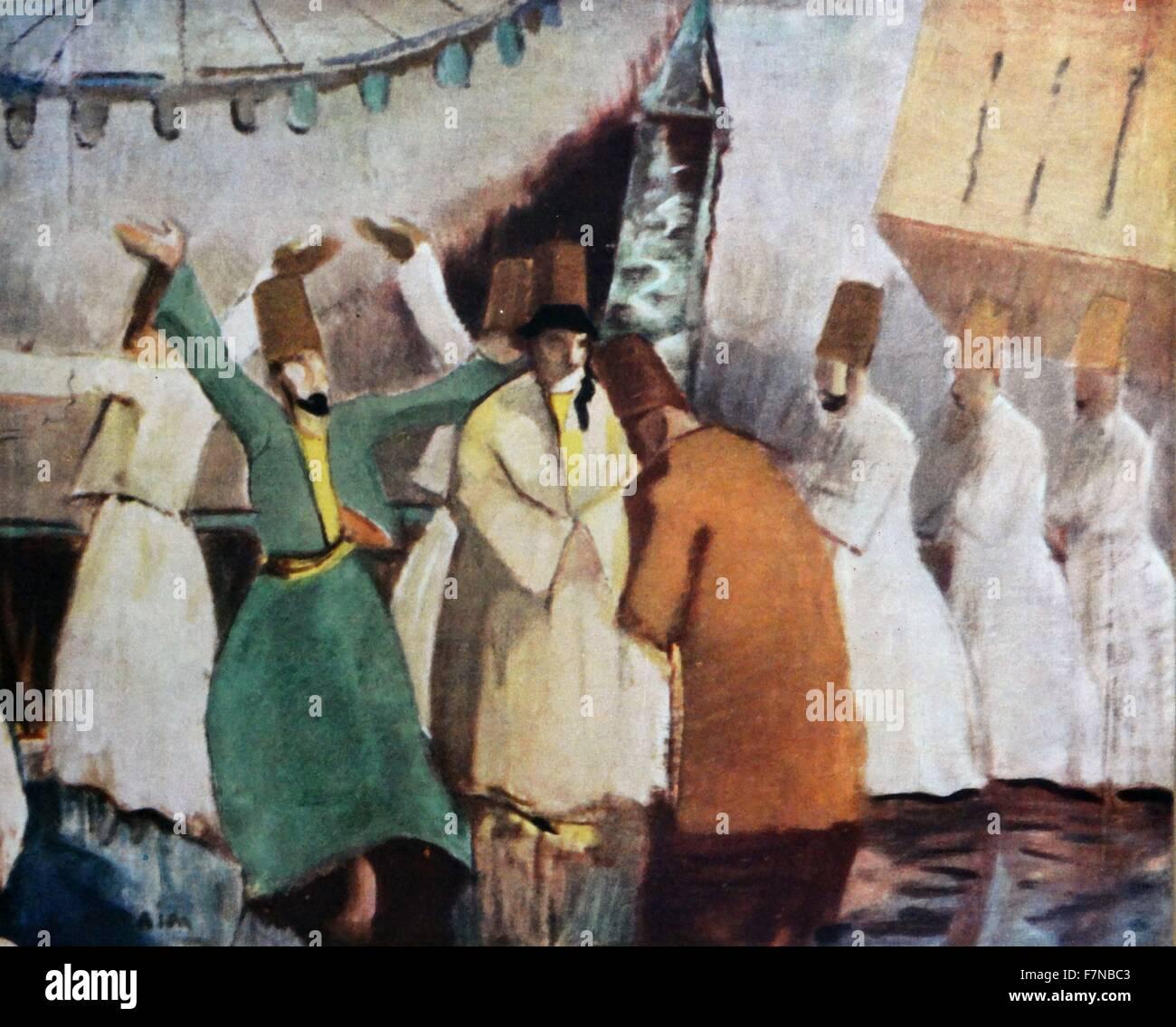 Ibrahim Tchalli (ÇALLI) 1881 - 1960, Turkish painter: Whirling Dervishes late 19th century - Stock Image