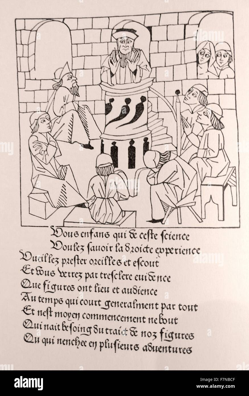 Romans de Chevalerie Francaise. Woodcut created by guillaume de roy 1480 - Stock Image