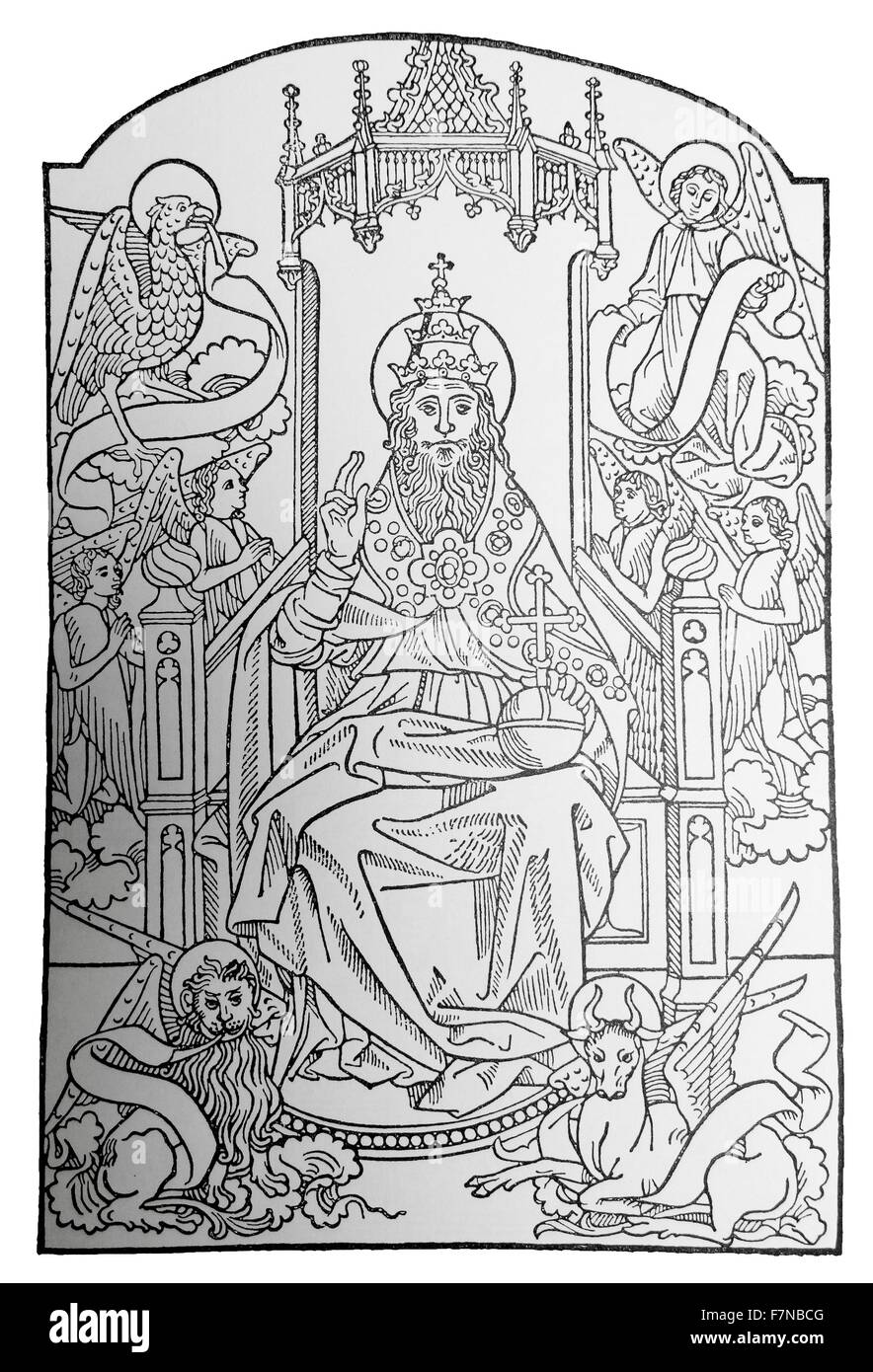 Jean du pre; le pere eternel 1481 woodcut of 'God Enthroned' - Stock Image