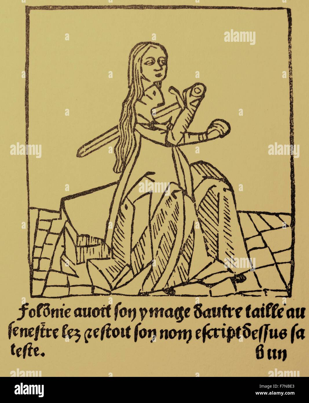 Romance of the rose; 1503 Woodcut by Lorris and Jean de Meung - Stock Image