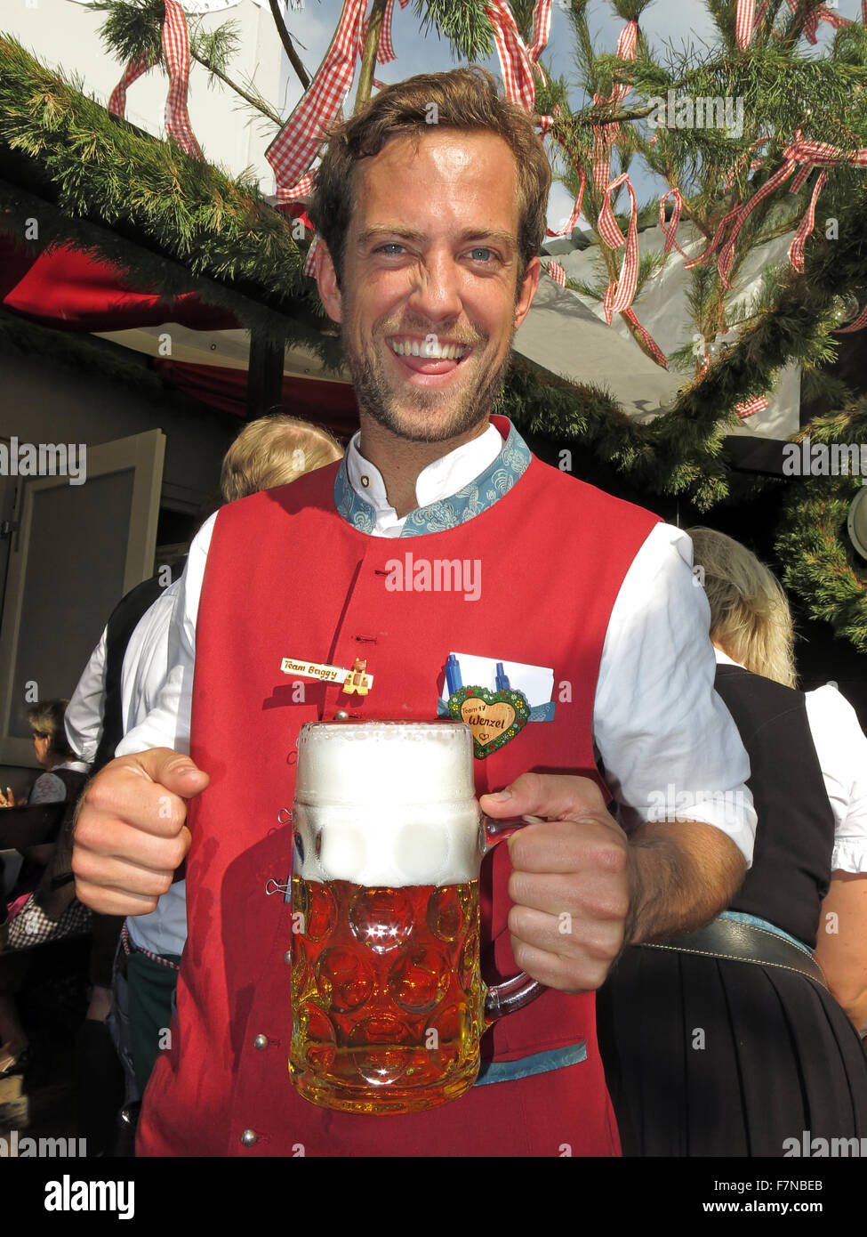 Oktoberfest server with lager bier stein, Munich,Germany Stock Photo