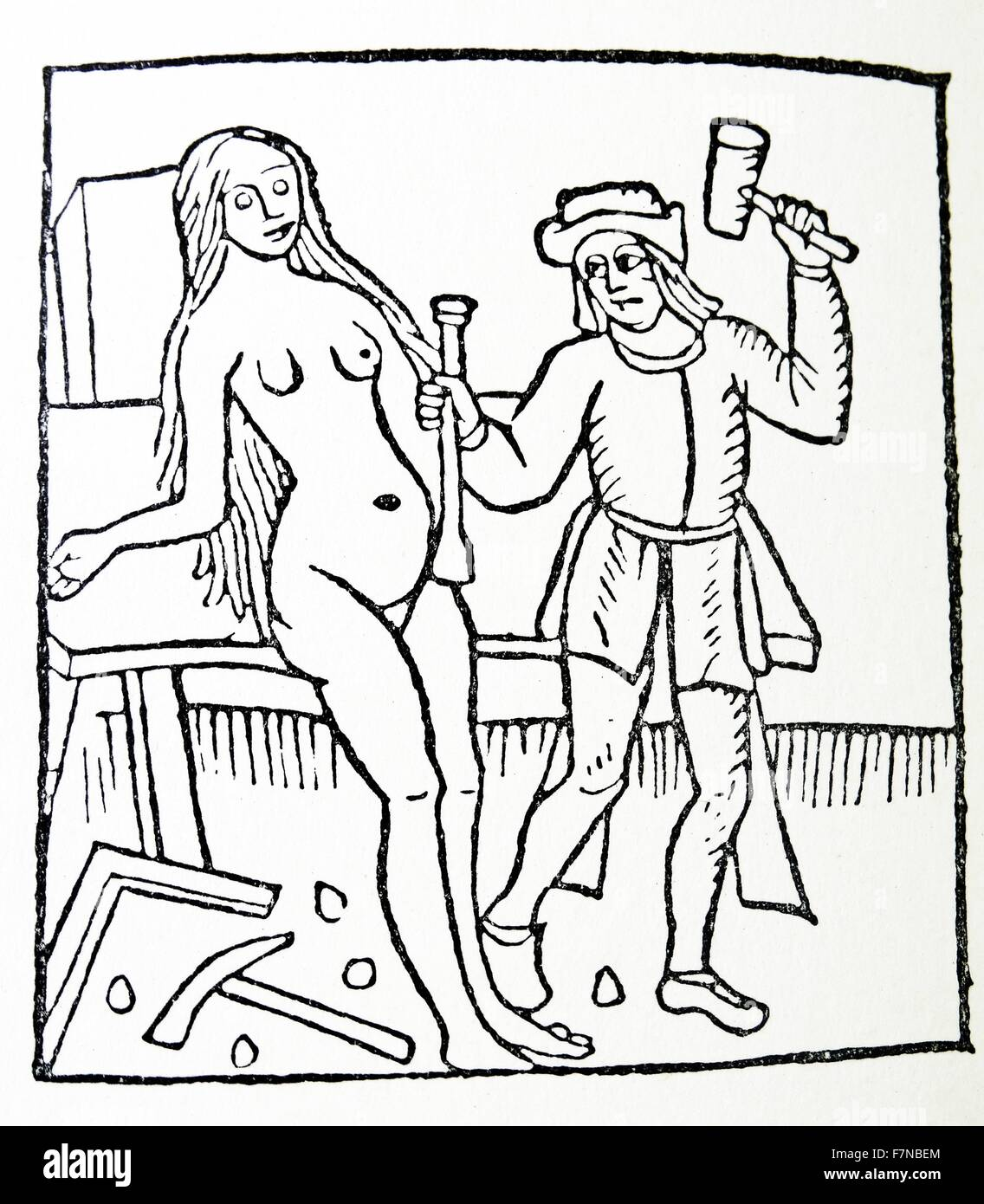 Romance of the rose; 1503 Woodcut by antoine Verard, Paris 1500 - Stock Image