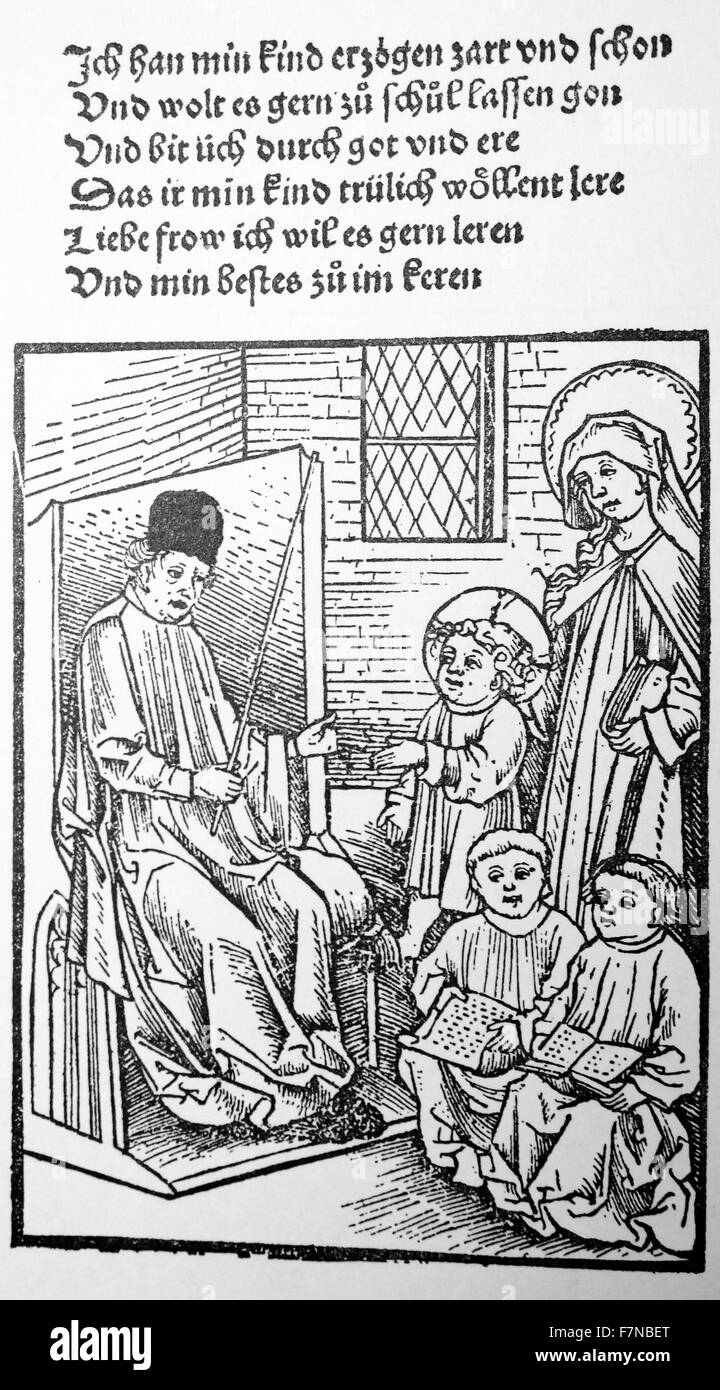 german woodcut of a teacher in a classroom 1500 - Stock Image