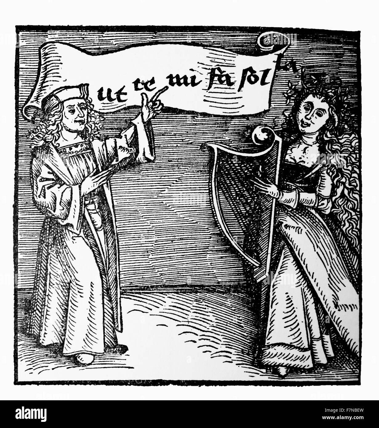german woodcut of a music teacher 1500 - Stock Image
