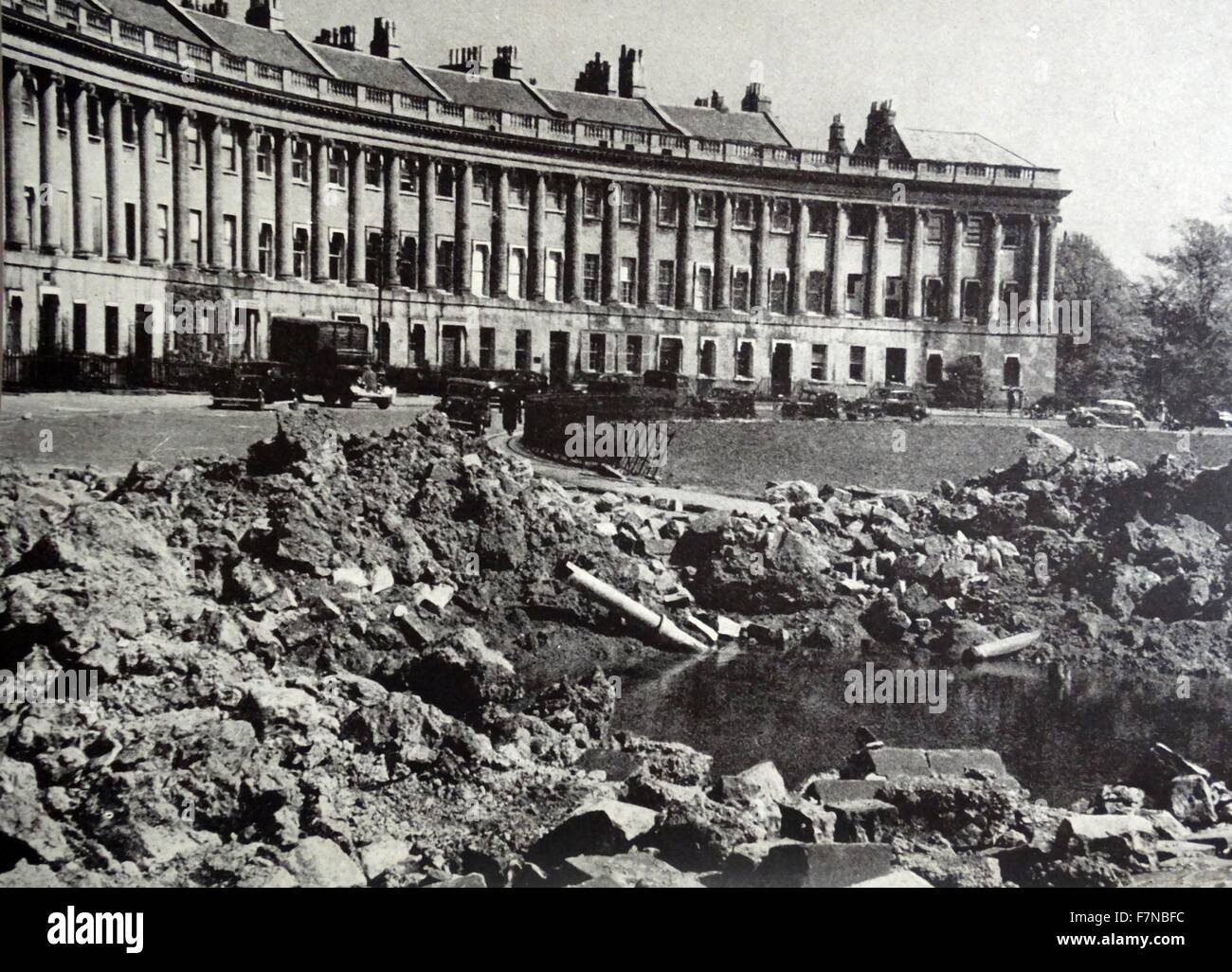 Photograph of the aftermath of a bomb that missed the Royal Crescent, Bath. Dated 1942 - Stock Image