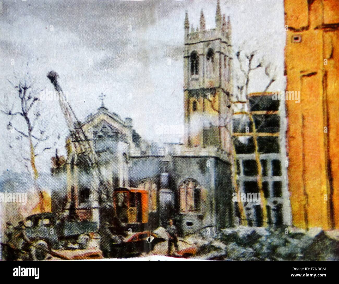 Painting of the destruction of  St Alban's by Kingsley Sutton (1907-1976) wartime artist. Dated 1942 - Stock Image