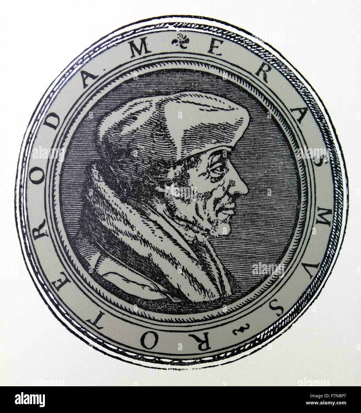 woodcut of Erasmus by Hans Holbein the Younger; 1532 - Stock Image