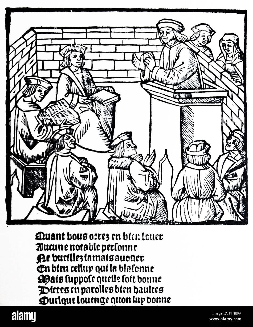 Woodcut depicting the doctrinal court, Geneva 1525 - Stock Image