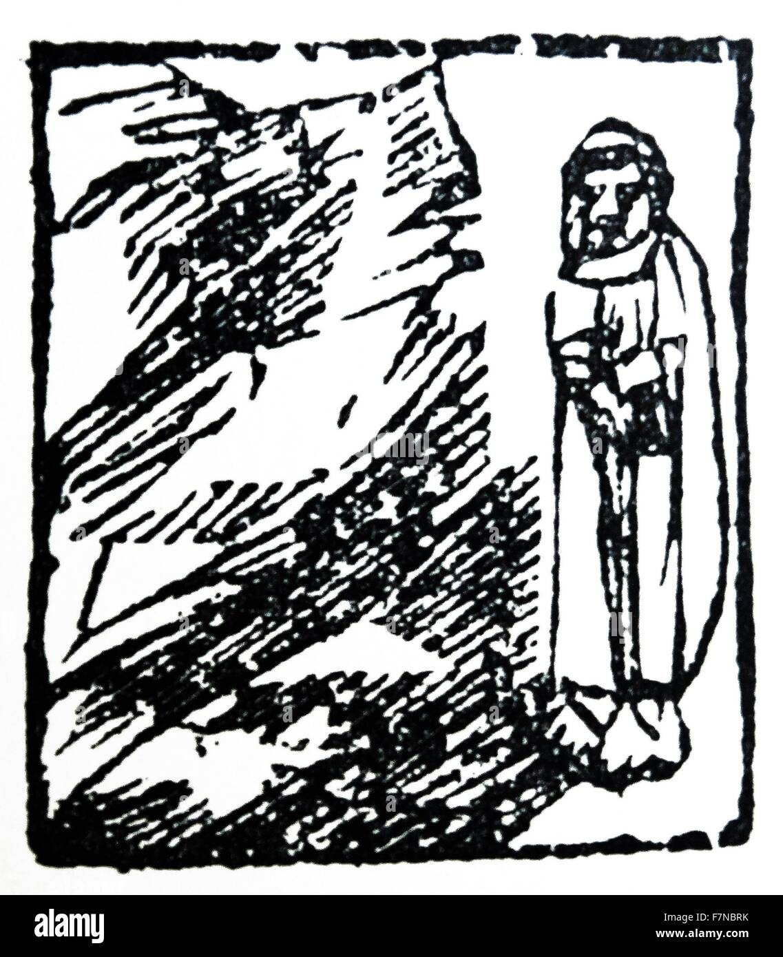 Italian woodcut from 16th century. A woodcut is a relief printing process in which a relief-like wooden printing - Stock Image