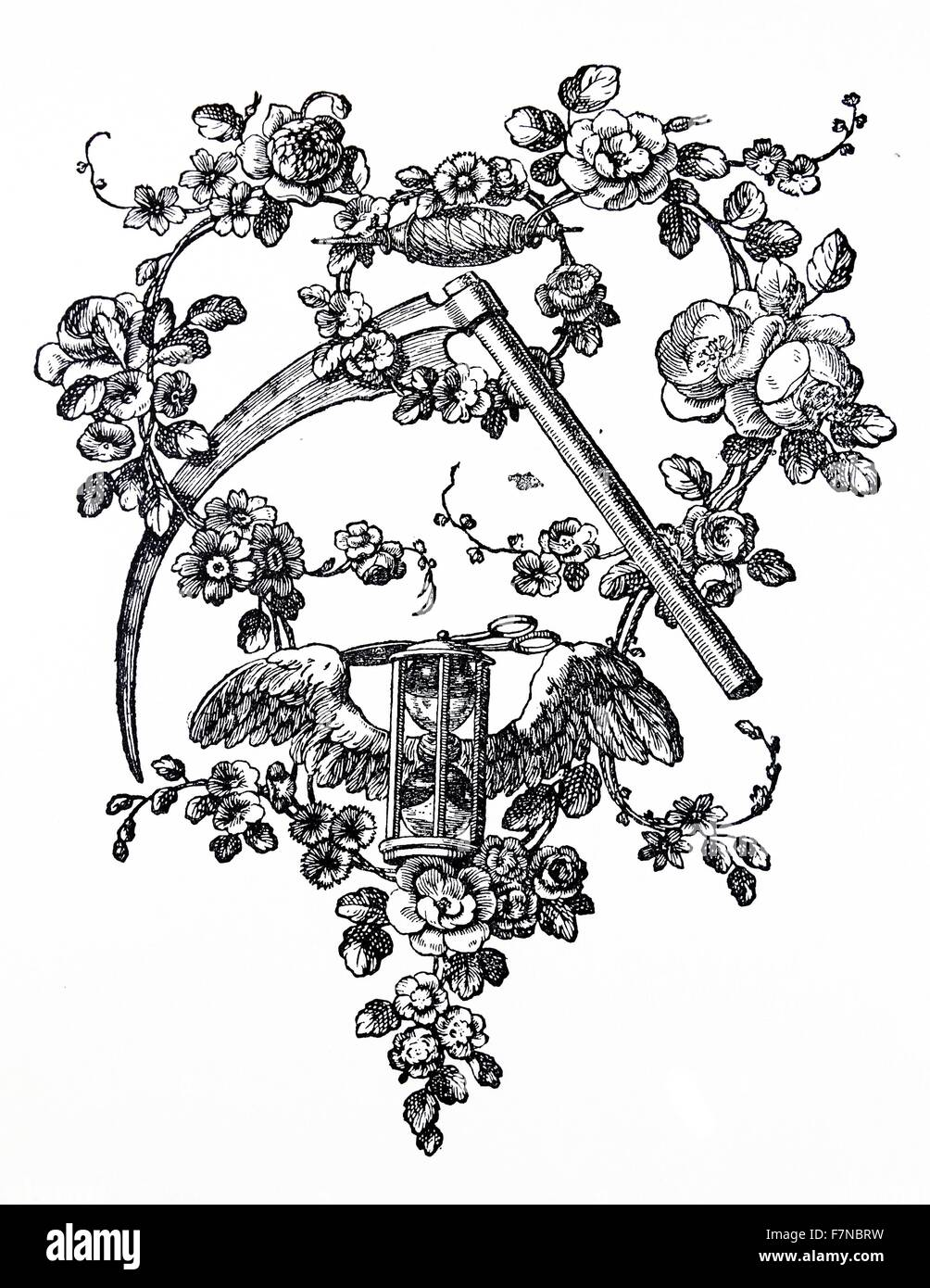 English woodcut from 1810. A woodcut is a relief printing process in which a relief-like wooden printing block is - Stock Image
