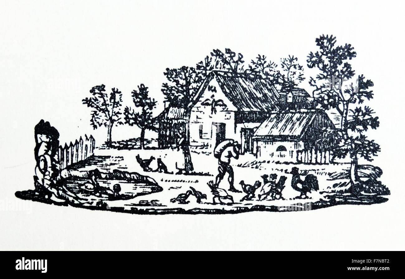 Fench woodcut from 1810, by Duplat. A woodcut is a relief printing process in which a relief-like wooden printing - Stock Image