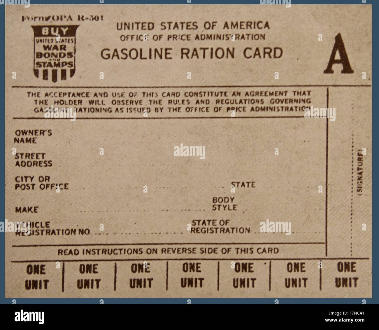 The United States of America issues Gasoline Ration Cards.  You were only allowed to buy a small amount, even if - Stock Image